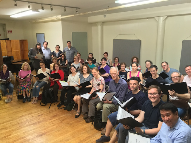 Frank J. Oteri, Charles Passy, Trudy Chan, and conductor Phillip Cheah with Central City Chorus during a rehearsal of Counting Time in Central City.