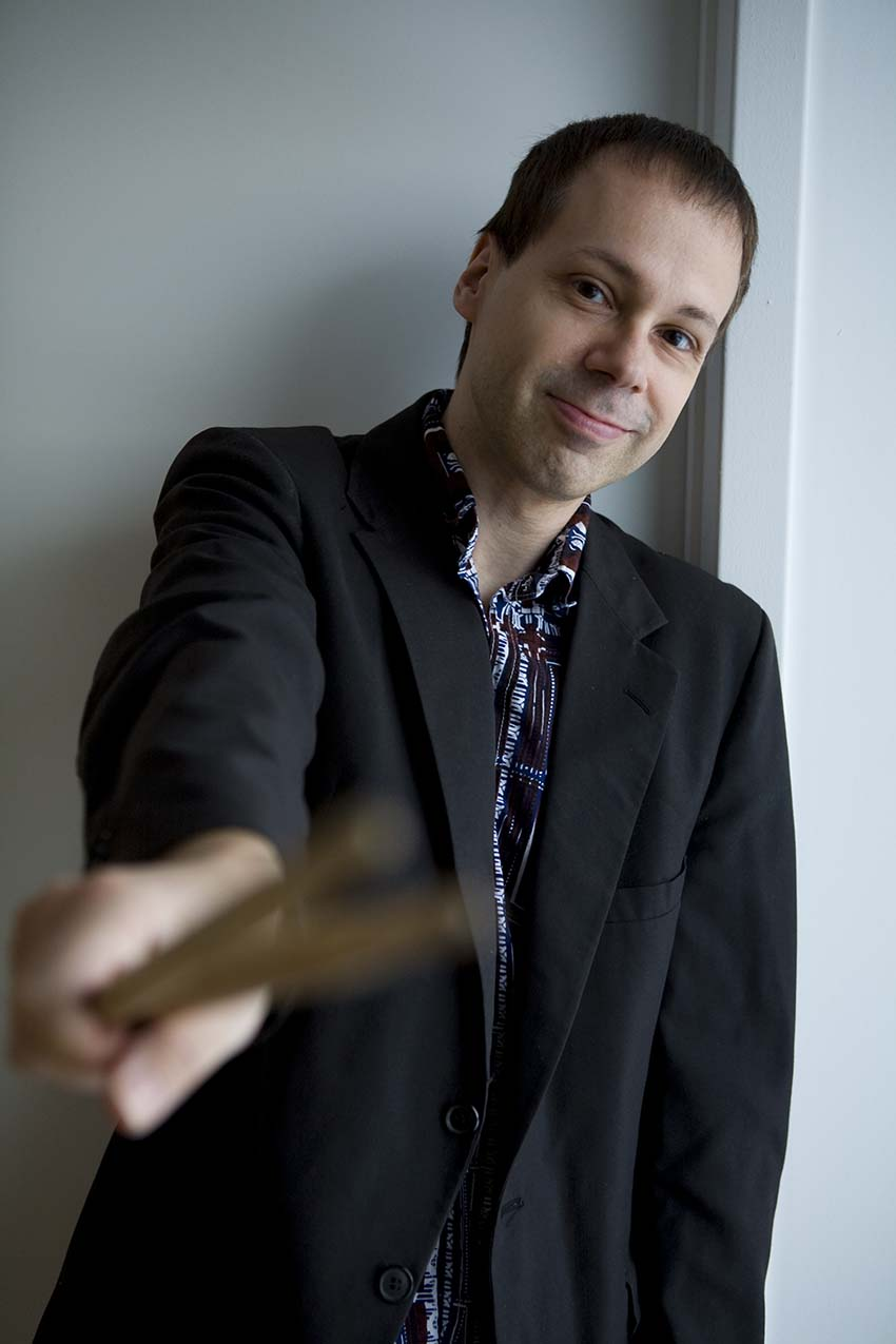 Lukas Ligeti with drumsticks